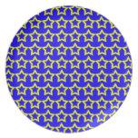 Modelo: Fondo azul con las estrellas amarillas Plato Para Fiesta