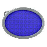 Modelo: Fondo azul con las estrellas negras Hebilla De Cinturon Oval