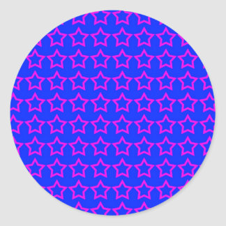 Modelo: Fondo azul con las estrellas rosadas Etiqueta Redonda