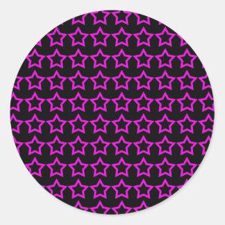 Modelo: Fondo negro con las estrellas rosadas Etiquetas Redondas