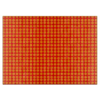 Modelo: Fondo rojo con los círculos anaranjados Tabla De Cortar