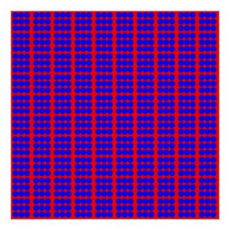Modelo: Fondo rojo con los círculos azules Perfect Poster