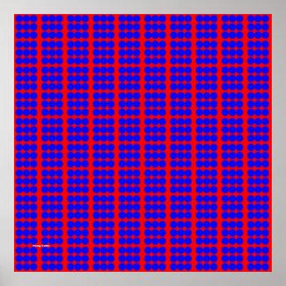 Modelo: Fondo rojo con los círculos azules Póster