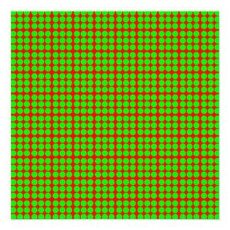 Modelo: Fondo rojo con los círculos verdes Comunicado Personalizado