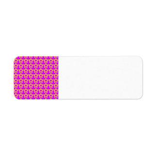 Modelo: Fondo rosado con las estrellas amarillas Etiqueta De Remite