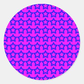 Modelo: Fondo rosado con las estrellas azules Etiquetas Redondas