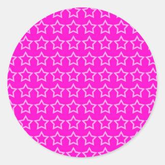 Modelo: Fondo rosado con las estrellas blancas Etiquetas Redondas