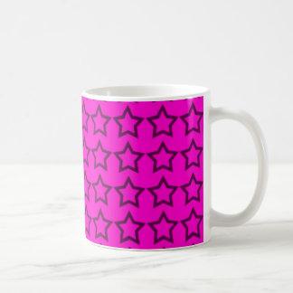 Modelo: Fondo rosado con las estrellas negras Taza Clásica