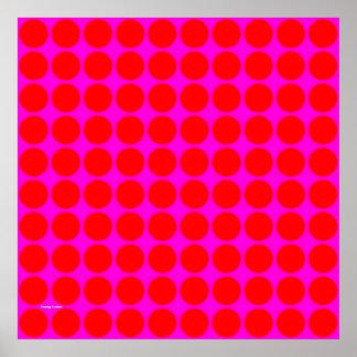 Modelo: Fondo rosado con los círculos rojos Póster