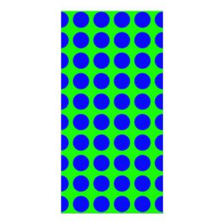 Modelo: Fondo verde con los círculos azules Tarjeta Personal Con Foto