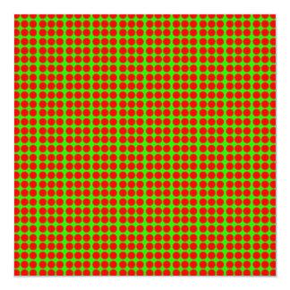 """Modelo: Fondo verde con los círculos rojos Invitación 5.25"""" X 5.25"""""""
