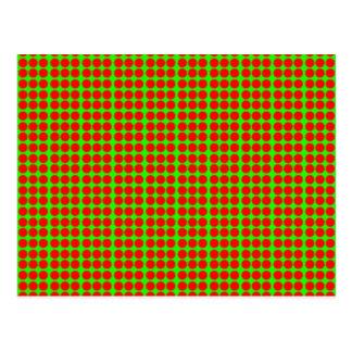 Modelo: Fondo verde con los círculos rojos Tarjeta Postal