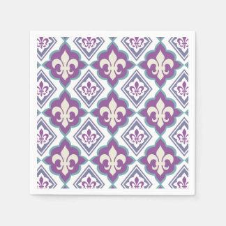 Modelo francés de la flor de lis del estilo servilletas de papel