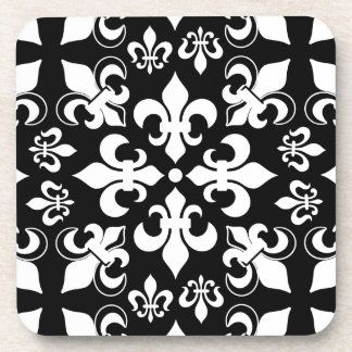 Modelo francés heráldico negro y blanco de la flor posavasos de bebidas