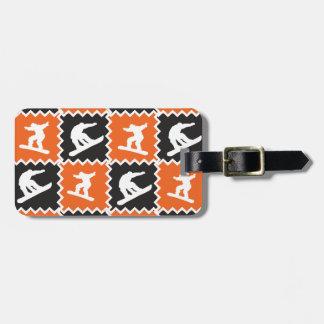 Modelo fresco de la snowboard del naranja y del ne etiquetas para equipaje