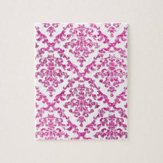 Modelo fresco del damasco moderno rosado rompecabezas