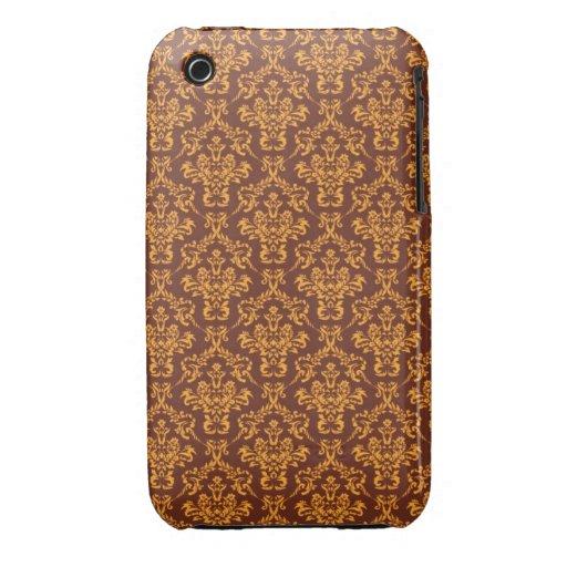 modelo fresco del vintage del marrón del damasco iPhone 3 Case-Mate coberturas