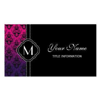Modelo fucsia y púrpura del damasco tarjetas de visita