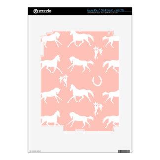 Modelo galopante del rosa y blanco de los caballos iPad 3 pegatina skin