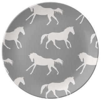 Modelo galopante gris de los caballos platos de cerámica