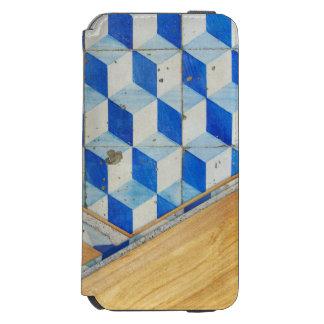 Modelo geométrico 3d del vintage con madera funda billetera para iPhone 6 watson
