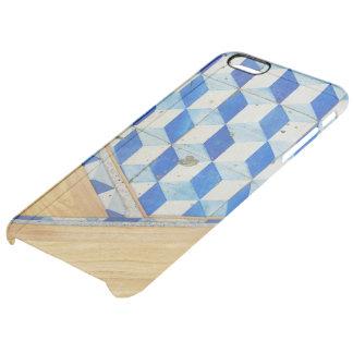 Modelo geométrico 3d del vintage con madera funda clear para iPhone 6 plus