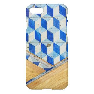 Modelo geométrico 3d del vintage con madera funda para iPhone 7
