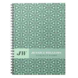 Modelo geométrico abstracto de la verde menta cuadernos