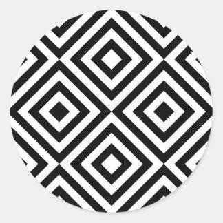Modelo geométrico abstracto de los cuadrados, pegatina redonda
