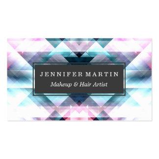 Modelo geométrico abstracto rosado y azul femenino tarjetas de visita