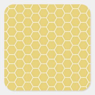 Modelo geométrico amarillo del hexágono del panal pegatina cuadrada