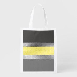 Modelo geométrico amarillo y gris moderno de las r bolsa para la compra