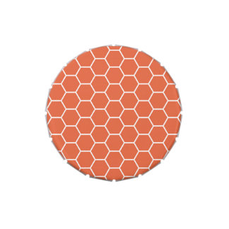 Modelo geométrico anaranjado brillante del hexágon latas de dulces