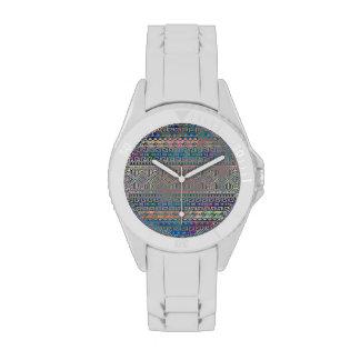 Modelo geométrico azteca colorido fresco hermoso reloj