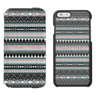 Modelo geométrico azteca de la turquesa, rosado y funda billetera para iPhone 6 watson