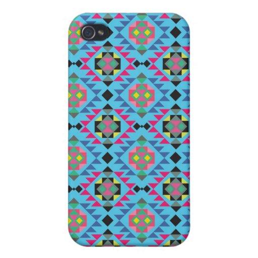 Modelo geométrico azteca tribal del azul de Navajo iPhone 4 Fundas
