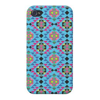Modelo geométrico azteca tribal del azul de Navajo iPhone 4 Coberturas