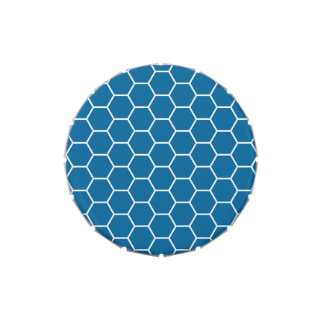 Modelo geométrico azul brillante del hexágono del frascos de caramelos