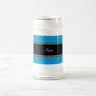 Modelo geométrico azul conocido personalizado del tazas