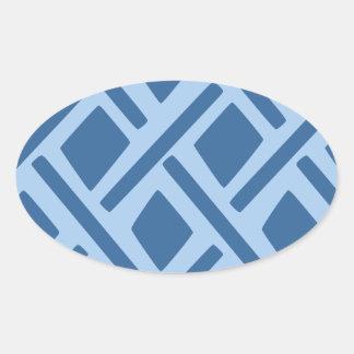 Modelo geométrico azul pegatina ovaladas personalizadas