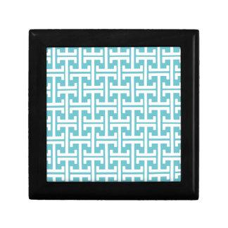 Modelo geométrico azul y blanco del trullo retro cajas de recuerdo