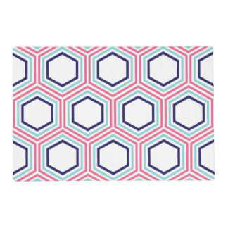 Modelo geométrico azul y rosado moderno tapete individual