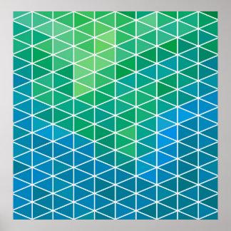 Modelo geométrico azul y verde del triángulo posters