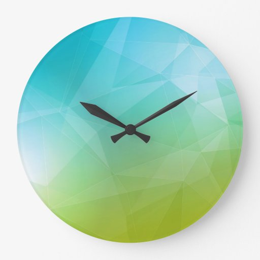 Modelo geométrico azul y verde reloj redondo grande