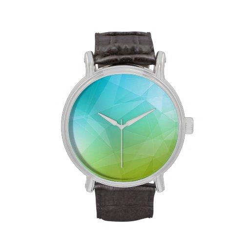 Modelo geométrico azul y verde relojes