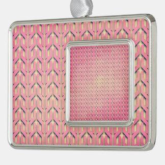 Modelo geométrico beige rosado colorido enrrollado marcos de adorno plateado
