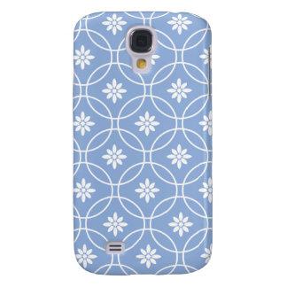 Modelo geométrico blanco azul del Cornflower Funda Para Galaxy S4
