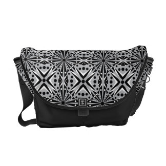 Modelo geométrico blanco y gris negro bolsa de mensajeria