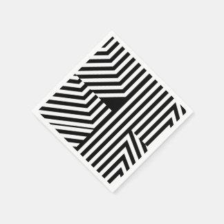 Modelo geométrico blanco y negro de moda de las servilletas de papel
