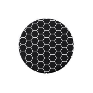 Modelo geométrico blanco y negro del hexágono frascos de caramelos